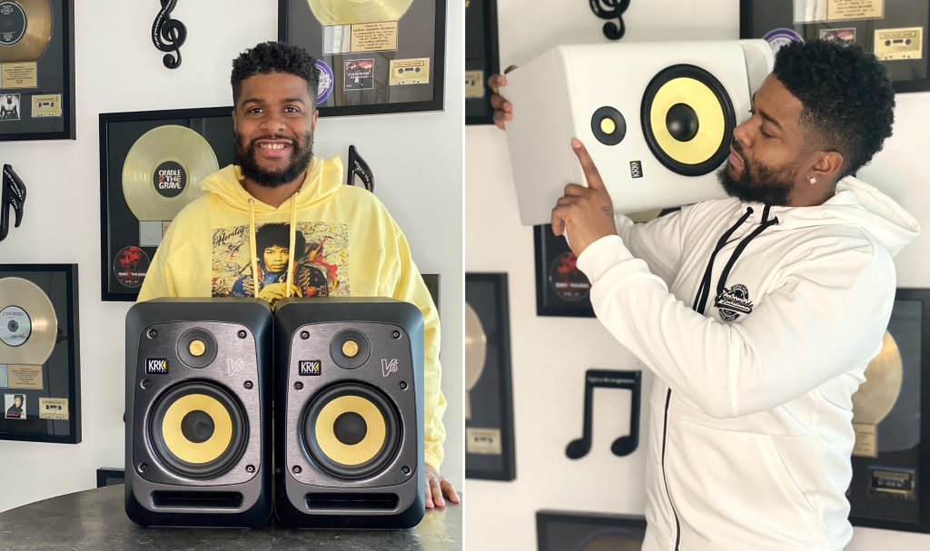 Pictured: Amadeus with his KRK V6 and ROKIT 8 G4 White Noise studio monitors